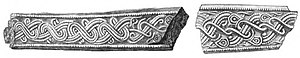 Black and white drawing of two iron fragments from the Vendel XIV grave