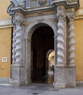 Solomonic column - Renaissance gateway in Granada