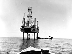 Offshore oil and gas in the Gulf of Mexico (United States) - A mobile drilling platform in federal water offshore Louisiana, 1957