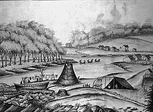 History of Grand Rapids, Michigan - A sketch of Grand Rapids in 1831. The collection of houses across the river on its west side is the Baptist mission. The three buildings in the middle right are Louis Campau's trading post.