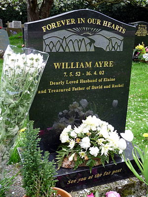 Billy Ayre - Ayre's grave at St Cuthbert's Churchyard in Halsall.