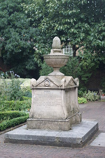 Bligh's tomb, surmounted by an eternal flame, sits in the Sackler Garden at the Garden Museum. Grave of William Bligh, Lambeth, London - geograph.org.uk - 1411724.jpg