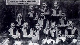 Grêmio Foot-Ball Porto Alegrense - Gremio in 1904, wearing the blue and black jersey