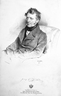 Franz Grillparzer on 1841 lithograph by Josef Kriehuber,