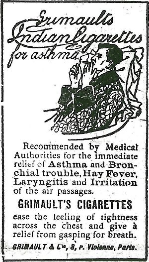 Tobacco-Free Pharmacies - A 1907 cigarette advertisement promoting supposed medicinal benefits of smoking, as was common at the time