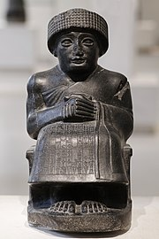 Gudea of Lagash, diorite statue found at Telloh (Louvre)