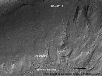 MOC Public Targeting Program - Image: Gullies and tongue shaped glacier