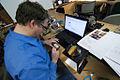 Gus works on a light theremin circuit, kwartzlab TON, 2011-01-18.jpg