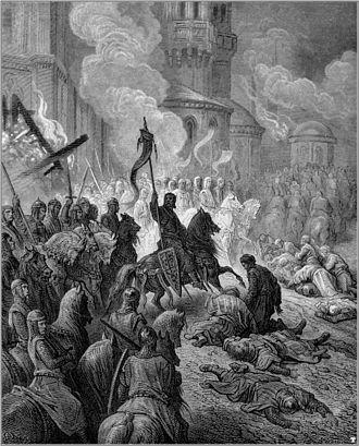 Persecution of Eastern Orthodox Christians - Sack of Constantinople in 1204, an artistic representation by Gustave Doré