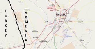 """Russian 102nd Military Base - Map of Gyumri and its vicinity. The base is shown in pink. The Gyumri city quarter inhabited by Russian servicemen, known as """"Vosmoy Gorodok"""" (8-й городок) is immediately north of the base (shown in black)"""