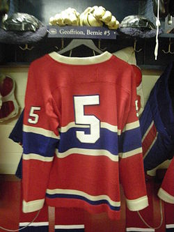 HHOF July 2010 Canadiens locker 05 (Geoffrion).JPG