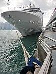 HK TST Ocean Terminal pier parking MV Silver Whisper luxury cruise ship Feb-2013.JPG