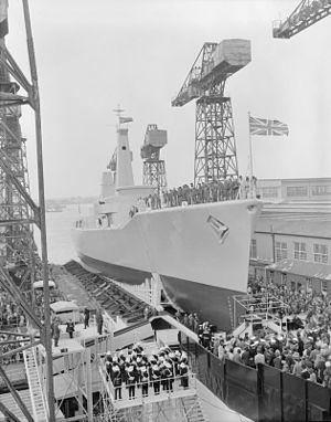 HMS Andromeda (F57) - HMS Andromeda being launched at Portsmouth Royal Dockyard, May 1967.