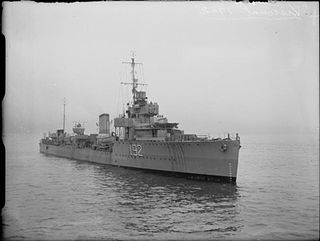 HMS <i>Viscount</i> (D92) V-class destroyer of the Royal Navy