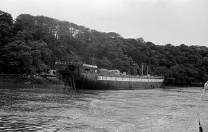 HMS Warrior (1860) - Warrior used as an oil jetty in Llanion Cove (1977)
