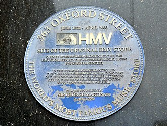 Oxford Street - A blue plaque at No. 363 Oxford Street commemorating the founding of HMV in 1921