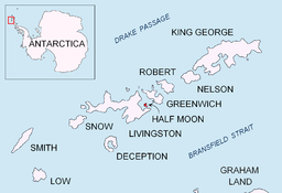 none  Plasseringa til Half Moon Island and Livingston Island i Sør-Shetlandsøyane.
