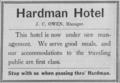 Hardman Hotel 1911 Advertisement (Hardman, Oregon).png