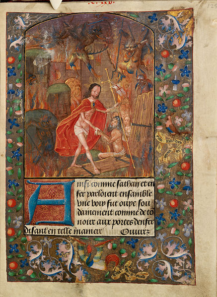 File:Harrowing of hell Christ leads Adam by the hand. On scroll in border, the motto 'Entre tenir Dieu le viuelle' (f. 125).jpg
