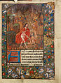 Harrowing of hell Christ leads Adam by the hand. On scroll in border, the motto 'Entre tenir Dieu le viuelle' (f. 125).jpg