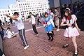 Haruhi Suzumiya cosplayers dancing at Anime Expo 20070630.jpg