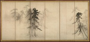 Ink wash painting - Image: Hasegawa Tohaku Pine Trees (Shōrin zu byōbu) right hand screen