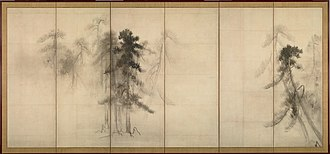 Culture of Japan - Image: Hasegawa Tohaku Pine Trees (Shōrin zu byōbu) right hand screen