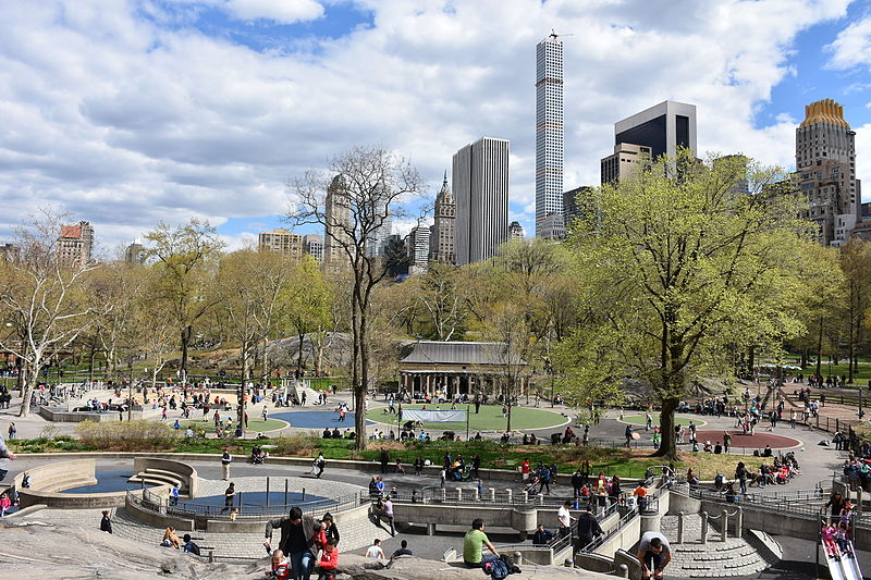 Heckscher Playground and Central Park South skyline from Rat Rock.JPG