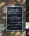 Hedge End Strict Baptist Chapel, Upper Northam Road, Hedge End (May 2019) (Signboard).JPG