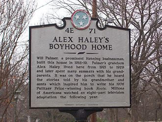 Henning, Tennessee - Historical marker in front of Alex Haley's boyhood home (2007)