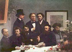 Paul Verlaine (en bas à gauche) et Arthur Rimbaud (à sa gauche). «Le coin de table» peint par Henri Fantin-Latour en 1872 - Musée d'Orsay.