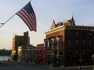 Muscatine, Iowa - Downtown Muscatine at dawn, looking toward the Mississippi River