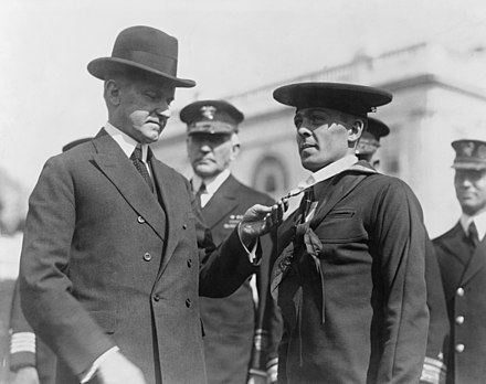 President Calvin Coolidge bestowing the Medal of Honor upon Henry Breault, March 8, 1924 Henry Breault2.jpg