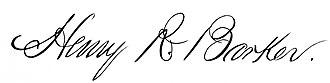 Henry Rodman Barker - Image: Henry R. Barker Signature Providence Mayor