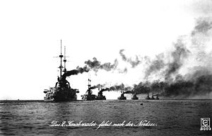 Braunschweig-class battleship - Members of the Braunschweig and Deutschland classes of the II Battle Squadron in the North Sea