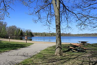 Highland Recreation Area - Image: Highland Recreation Area Michigan Teeple Lake Beach