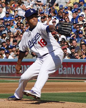 Photograph of Hiroki Kiroda at Dodger Stadium ...