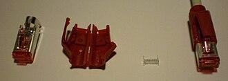 Hirose Electric Group - Image: Hirose tm 21 modular plug parts and crimped cable