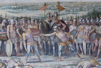 Mettius Fufetius - Battle between Horatii and Curiatii. Mettius Fufetius and Tullus Hostilius in the background (Giuseppe Cesari, 1612/1613)