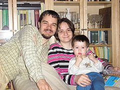 My wife, my son and me. Quite old picture.