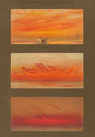 1883 eruption of Krakatoa - 1888 paintings, showcasing the optical effects of the eruption on the sky over time