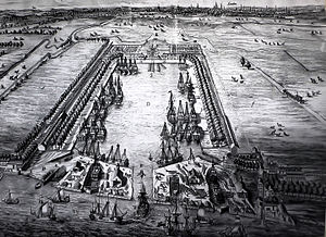 Greenland Dock - View of the Howland Great Wet Dock in 1717 looking west across the Rotherhithe peninsula