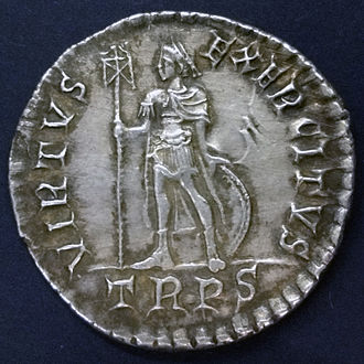Miliarense - Reverse of a miliarense from the Hoxne Hoard. TRPS indicates the mint of Treveri (modern Trier, Germany).