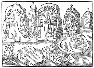 Hunnestad Monument - Ole Worm's depiction of the monument before it was destroyed. The high quality of the etching is confirmed by the surviving stones.