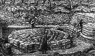 Kyi, Shchek and Khoryv - Graphic depiction of archaeological excavations in Kiev by Vikentiy Khvoyka