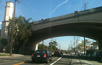 Silver Lake, Los Angeles - The Glendale-Hyperion Bridge in eastern Silver Lake near the I-5 freeway