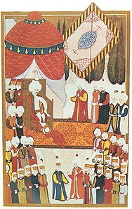 Accession to the throne of Selim I (miniature from the Hüner-nāme)
