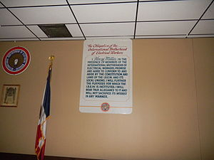 International Brotherhood of Electrical Workers -  IBEW obligation at Local 405 hall in Cedar Rapids, Iowa