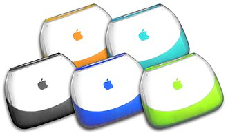 "IBook - iBook G3 (""Clamshell"") in all five colours: ""Tangerine"" and ""Blueberry"" on the top row, and ""Graphite"", ""Indigo"" and ""Key Lime"" on the bottom row. Key Lime was an Apple Online Store exclusive."