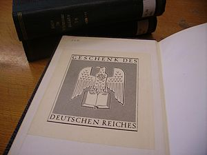 Institute of Historical Research - One of the books donated to the IHR by Ribbentrop in 1937